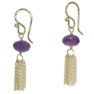"Gemstone Earrings14K Gold Filled with Amethyst 1-1/4"" Long Handcrafted USA"