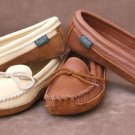 Womens Canoe Sole Deertan Leather Moccasins Cushion Insoles 4-10 Medium Made US