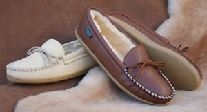 Womens Deertan Slippers Molded Soles Sheepskin Lined Sizes 4-10 Made in USA