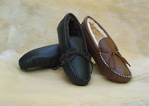Mens Deertan Leather Slippers Sheepskin Lined Sizes 6-13 Handmade in USA