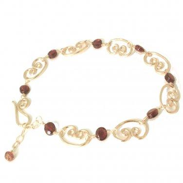 """Hammered 14K Gold Filled Gemstone Bracelet Black Spinel Stones  7-1/2"""" Made USA"""