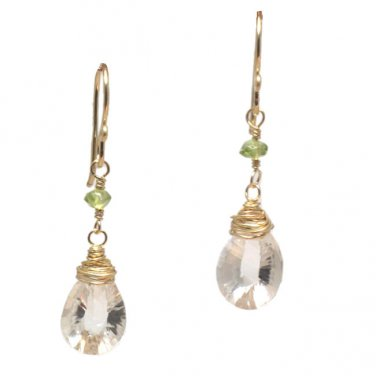 "Gemstone Earrings Peridot Crystal Quartz 14K Gold Filled 1-1/4"" Handcrafted USA"