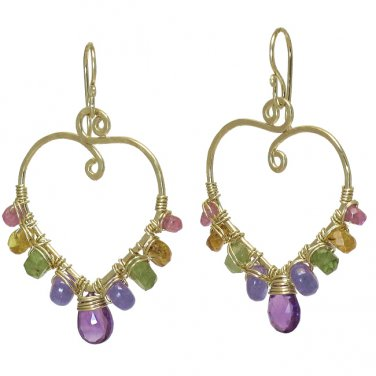 """Hammered 14K Gold Filled Earrings with Gemstones 1-1/2"""" Long Handcrafted USA"""