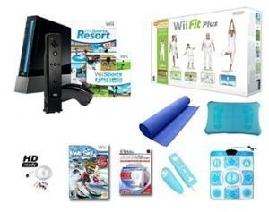Nintendo Wii Black Resort Bundle - Wii, Wii Fit Plus, Resort With Motion Plus And More