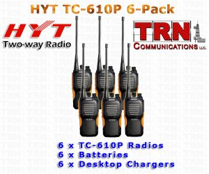 VHF - HYT TC-610P 5 Watt 16 Channel Portable Radio 6-PACK