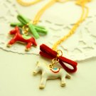 Red and White Rocking Horse Carnival Necklace