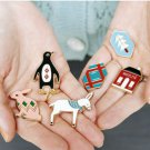 Cute Retro Badge - Rabbit / Penguin / Donkey / House / Medal / Christmas Tree