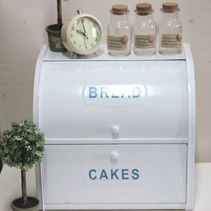 White Tin Bread and Cakes Double Storage