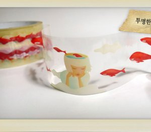 Girl and Flying Red Whale Transparent Illustration Deco Tape