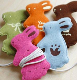 Lovely Rabbit Earphone Winder - Green, Blue, Pink, Orange, Brown