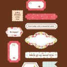 Cotton Fabric Stickers - Label Red