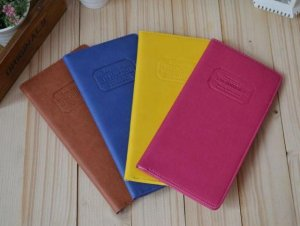 Long Travel Document Holder - Pink, Blue, Yellow, Brown
