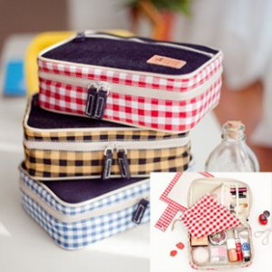 Layered Plaid Cosmetic and Stationery Bag - Red, Yellow, Blue
