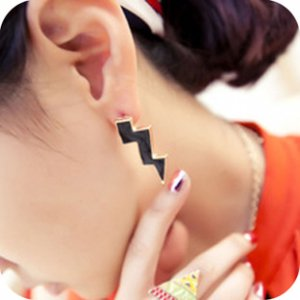 Oversize Black Lightning Earrings