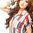 #19059107-Korean Fashion Blue and Red Stripes Casual Shirt