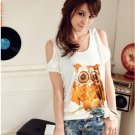 #1400353-Japanese Fashion Owl Patterned Off Shoulder Tops-3 Colors(White)
