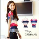 #17956829-Colourful Striped shirt with straps-2 Colors(Red)
