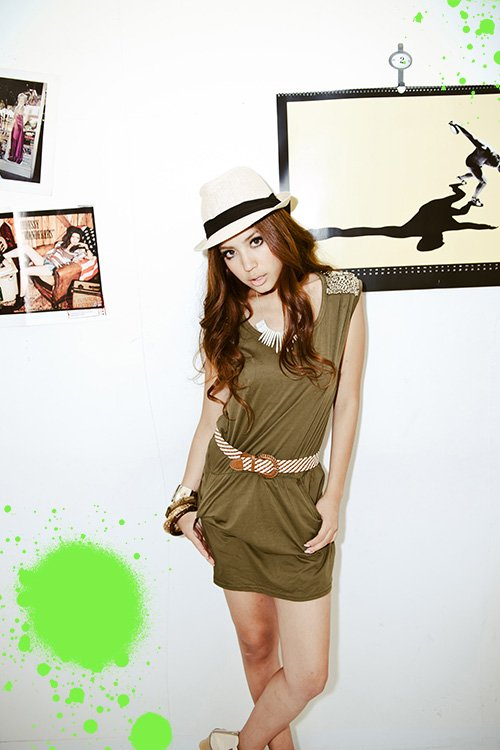 #2557197-Japanese Fashion Shoulder beaded dress with belt-2 Colors(Green)