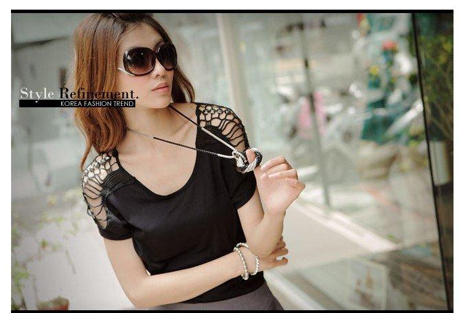 #154YY1284-Korean fashion hollow shoulder blouse-2 Colors(Black)