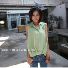 #1602020- small lapel button-fold cotton shirt-3 Colors(Green)