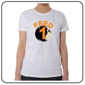 FEED 1 White Tee (Women) 100% Cotton