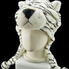 White Tiger Mascot Fancy Dress Costume Mask Fur Hat Cap #11234