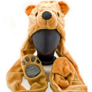 Brown Polar Bear Mascot Fancy Costume Fur Hat Cap with Gloves #11350