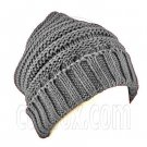 Plain Beanie with Mini Stripe Pattern Unisex Winter Hat GRAY GREY #50039