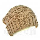 Plain Beanie with Mini Stripe Pattern Unisex Winter Hat BROWN #50038