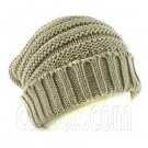 Plain Beanie with Mini Stripe Pattern Unisex Winter Hat LIGHT BROWN #51413