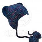 Colorful Beanie with Lovely Ears Shape & Earflaps Braids Poms (BLUE) #51418