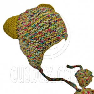 Colorful Beanie with Lovely Ears Shape & Earflaps Braids Poms (YELLOW) #51423