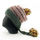 Colored Beanie w/ Back Braids Poms Winter Hat NEW NWT GREEN #50961
