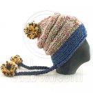 Colored Beanie w/ Back Braids Poms Winter Hat NEW NWT DARK BLUE #50960