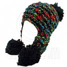 Color Wooly Pop Pom Beanie with Earflaps (BLACK BRAID POM) #51407