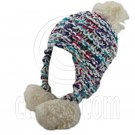 Color Wooly Pop Pom Beanie with Earflaps (WHITE BRAID POM) #51408