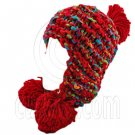 Color Wooly Pop Pom Beanie with Earflaps (RED BRAID POM) #51409