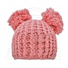 Warm Plain Wooly Beanie w/ Two Top Lovely Poms (PINK) #51438