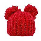 Warm Plain Wooly Beanie w/ Two Top Lovely Poms (RED) #51436
