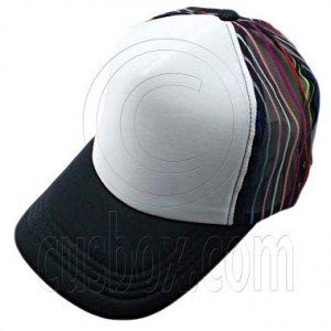 Plain Colour with Colored Striped Mesh Baseball Cap (Black) #51483