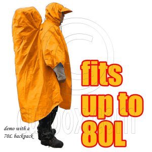 BlueField 2in1 Backpack Rain Cover Rain Coat (fits up to 80L) (ORANGE) #51498