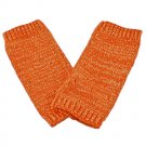 Unisex Fingerless Plain Short Gloves Gorgeous (ORANGE with tiny golden thread) #51351