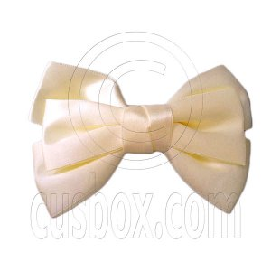 Pair Adorable 4.5inches 11cm Ribbon Bowknot Bow Tie Alligator Hair Clips APRICOT BEIGE #51556