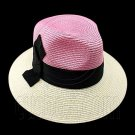 Wide Brim Fedora Braid Trim Hat (PINK WHITE) #51580