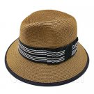 Fedora Style Braid Trim Striped Hat (DARK BROWN) #51581