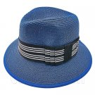 Fedora Style Braid Trim Striped Hat (DARK BLUE) #51582