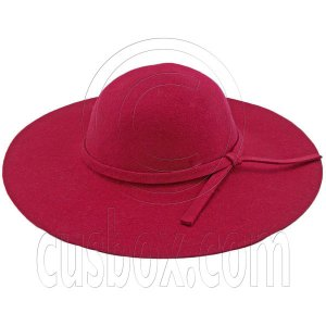 Wool Felt Vintage Style 10cm / 4inch Wide Brim Hat BURGUNDY RED #51591