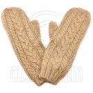 Men's Wooly Mittens Gloves with Cable Pattern (BROWN) #51634