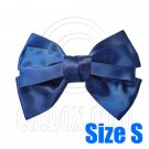 Pair Adorable 3inch 8cm Ribbon Bowknot Bow Tie Alligator Hair Clips Small DARK BLUE #51649