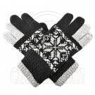 Men's Full Finger Wooly Cuff Gloves w/ Fluffy Lining (BLACK SNOWFLAKE N2) #51653